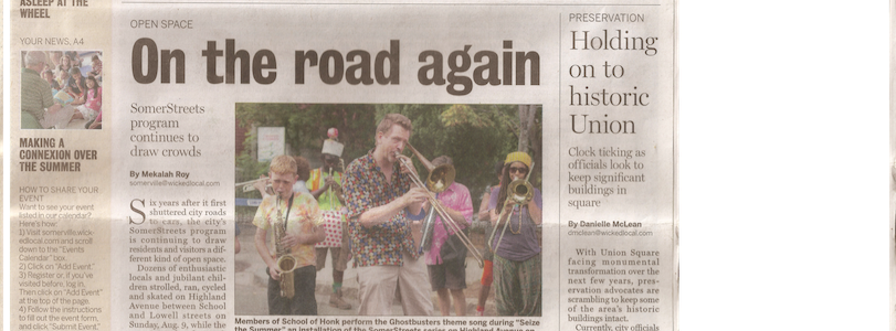 School of HONK reclaims Highland Ave for horns, bikes and feet